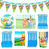 Party Tableware,CBOSNF 72 PCS Winnie The Pooh Party Supplies Tableware,Kids Birthday Party-10 Plates 10 Cups 20 Napkins 1 Tablecloth etc.-Serves 10 Guests
