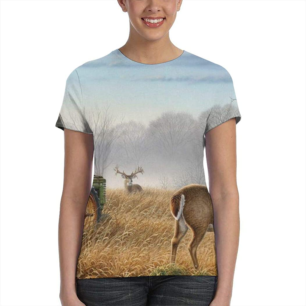 Go89Ou@ Old Tractor Cute Deer Womens Short Sleeve Tee Shirt, Essential Poly Tee for Fitness