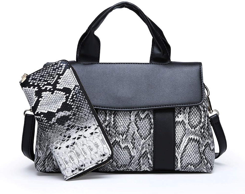 YKXIAOYU Ladies Handbag New European and American Fashion Snake Pattern Two-Piece Set Embossed Handbag one-Shoulder Crossbody Bag Black