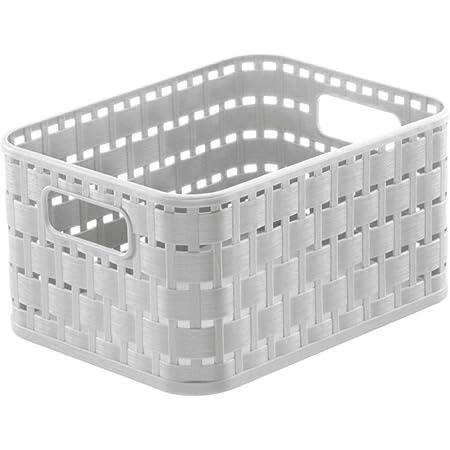 Rotho Country Panier de Rangement 2L en Rotin, Plastique (PP) sans BPA, gui Blanc, A6/2L (18,3 x 13,7 x 9,8 cm)