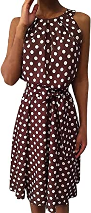 a7821307c5d2 Forthery-Women Summer Sleeve Polka Dot Dress Loose Mini Strap Skirt