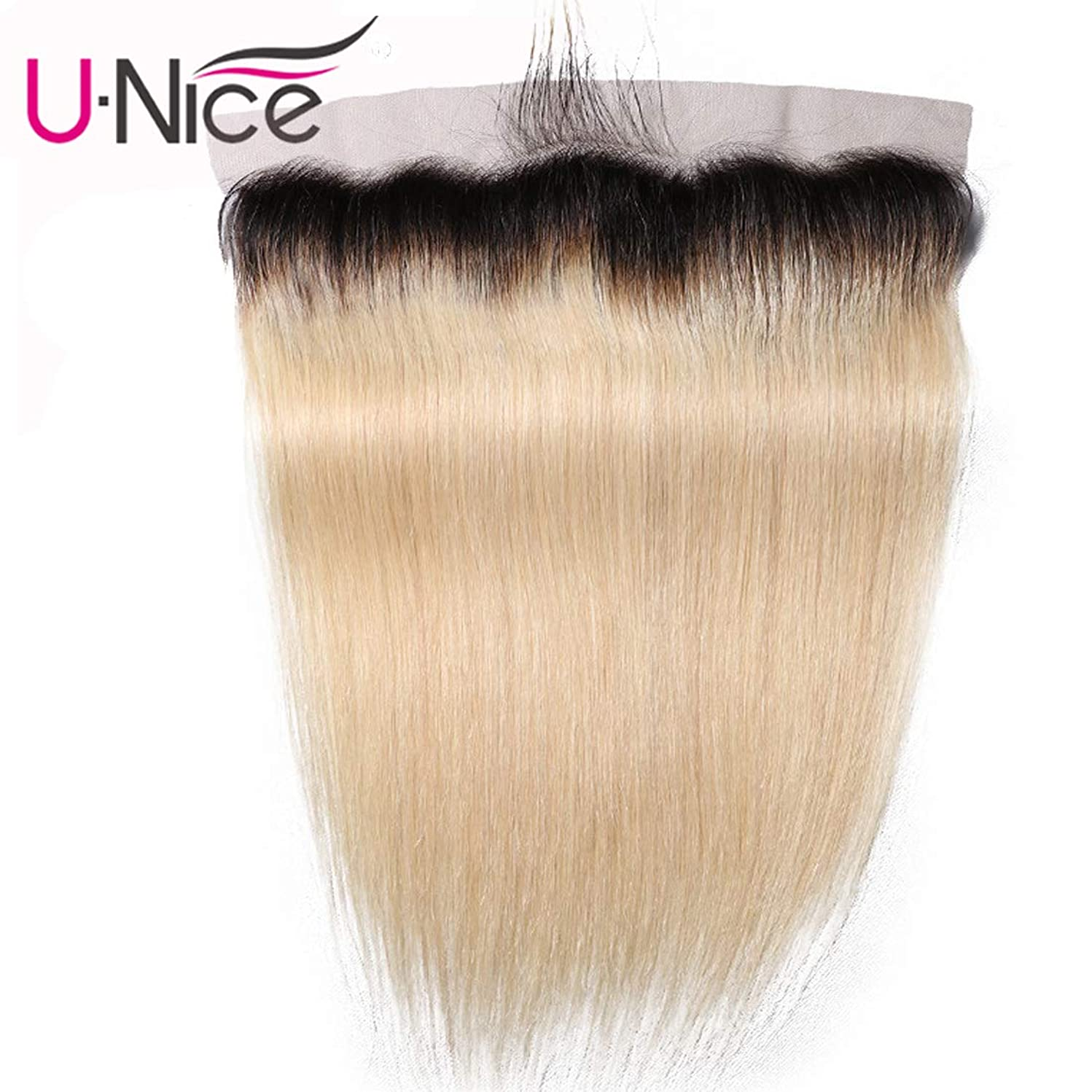 UNice Hair 10A Brazilian Ombre Blonde Straight Hair 13x4 Lace Frontal Closure, Free Part with Baby Hair, 100% Human Remy Hair Dark Roots 1b 613 Blonde Color (12'' Frontal)