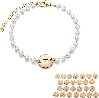 2019 Charm Bracelets 26 Letters Pearl Chain Bracelets for Women Wedding Party Prom Jewelry Bracelet Accessories