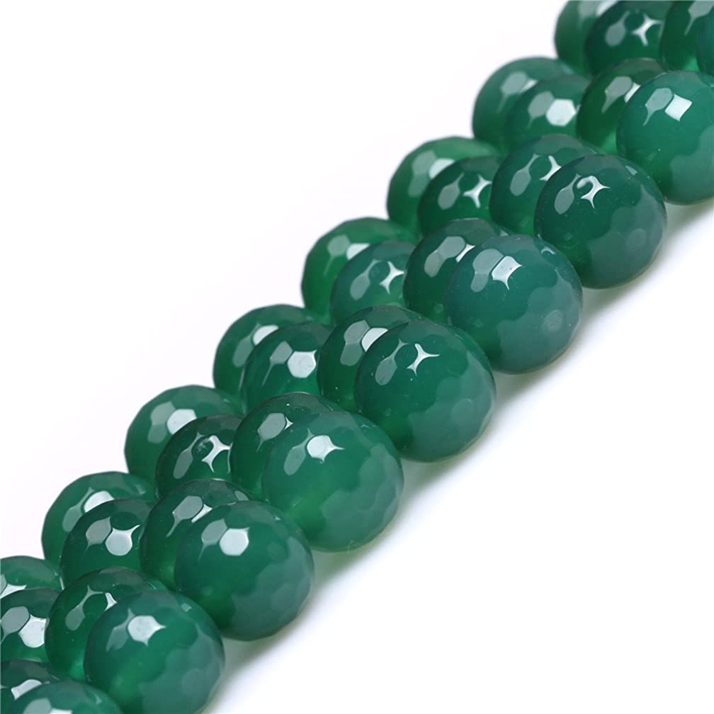 JOE FOREMAN 10mm Green Agate Semi Precious Gemstone Round Faceted Loose Beads for Jewelry Making DIY Handmade Craft Supplies 15