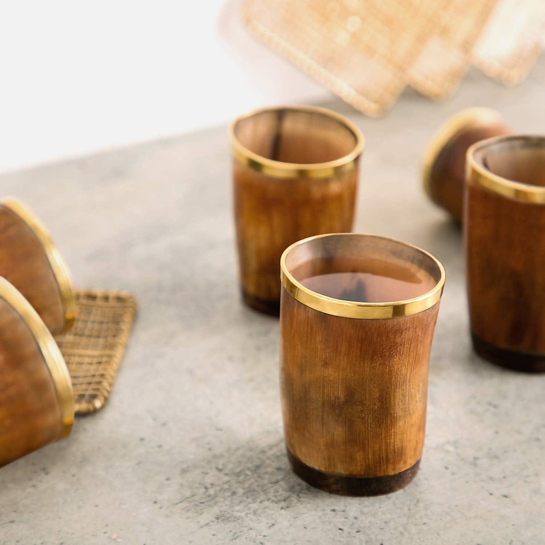   Bicchierini in Corno della Migliore qualit/à 4.5 oz capienza di 130 ml Bicchierini con Coperchio per Birra Autentico e Medievale Divit Horn Bicchierini Vichingo in Corno Autentico