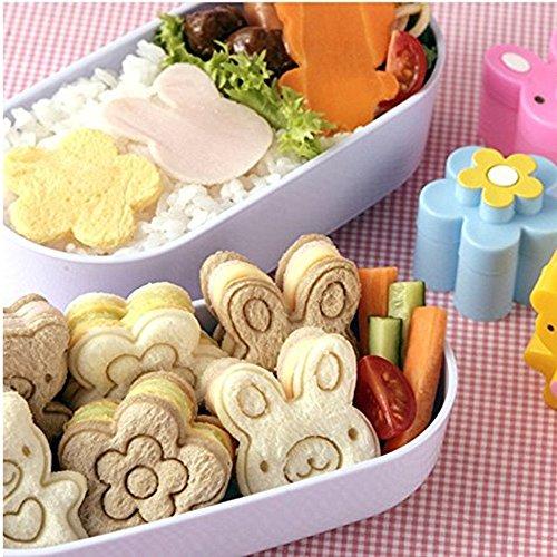 WCIC Sandwich Form, 3 Stück Backformen Ausstechformen Bär Blume Hase Kaninchen Muster Brot Ausstecher Kekse geprägt Tools Reis Küchenhelfer Kochzubehör Form für hectorl 's Food