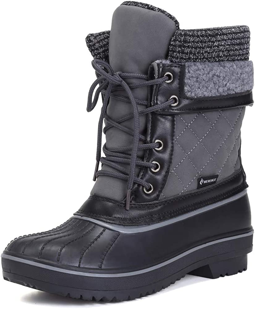 DESTURE Women's Snow Boots Warm Winter Water-Resistant Fabric Fashion Mid-Calf Shoes