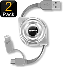 SDBAUX 2Pack/1M Cable de Carga Retráctil, Micro USB 2 en 1 Cargador Cable de Carga y Sincronización de Datos, para Phone XS MAX XR X 8 7 6 Plus 5S,Samsung Galaxy S5 S6 S7 Note 5 LG G4 HTC