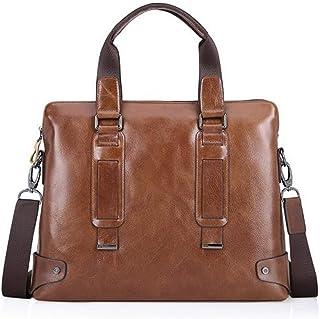 Crossbody Bag 8L First Layer Leather Shoulder Bag Laptop Work Bag Men's Business Leather Briefcase Brown Oil Wax Leather Casual Handbag