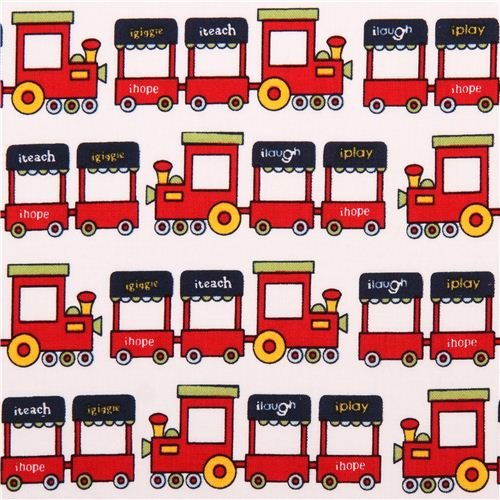 white Riley Blake train toy fabric Pieces Of Hope 2 (per 0.5 yard multiples)