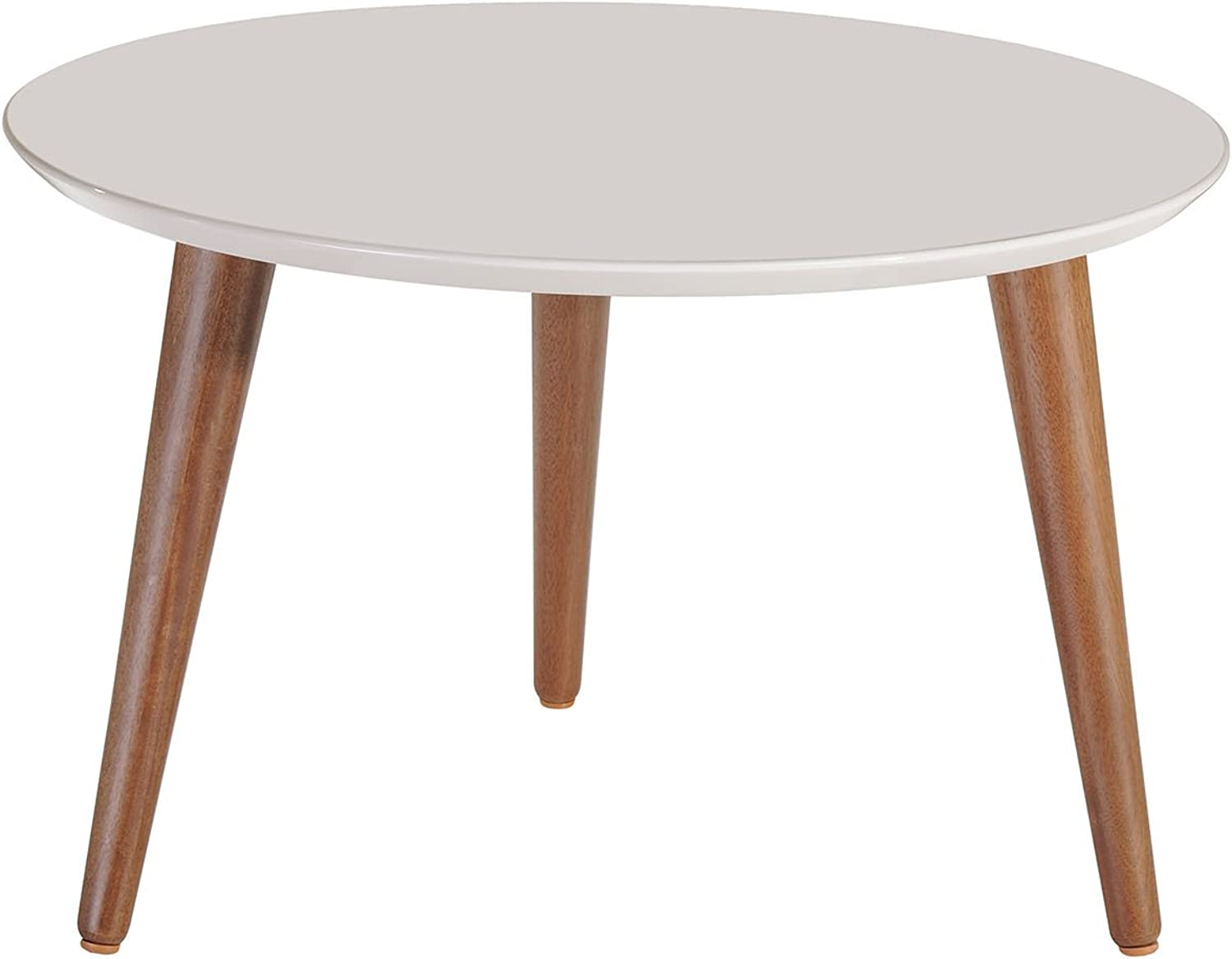 Manhattan Comfort 252252 Moore Mid-Century Modern Round Coffee Table, Off-White