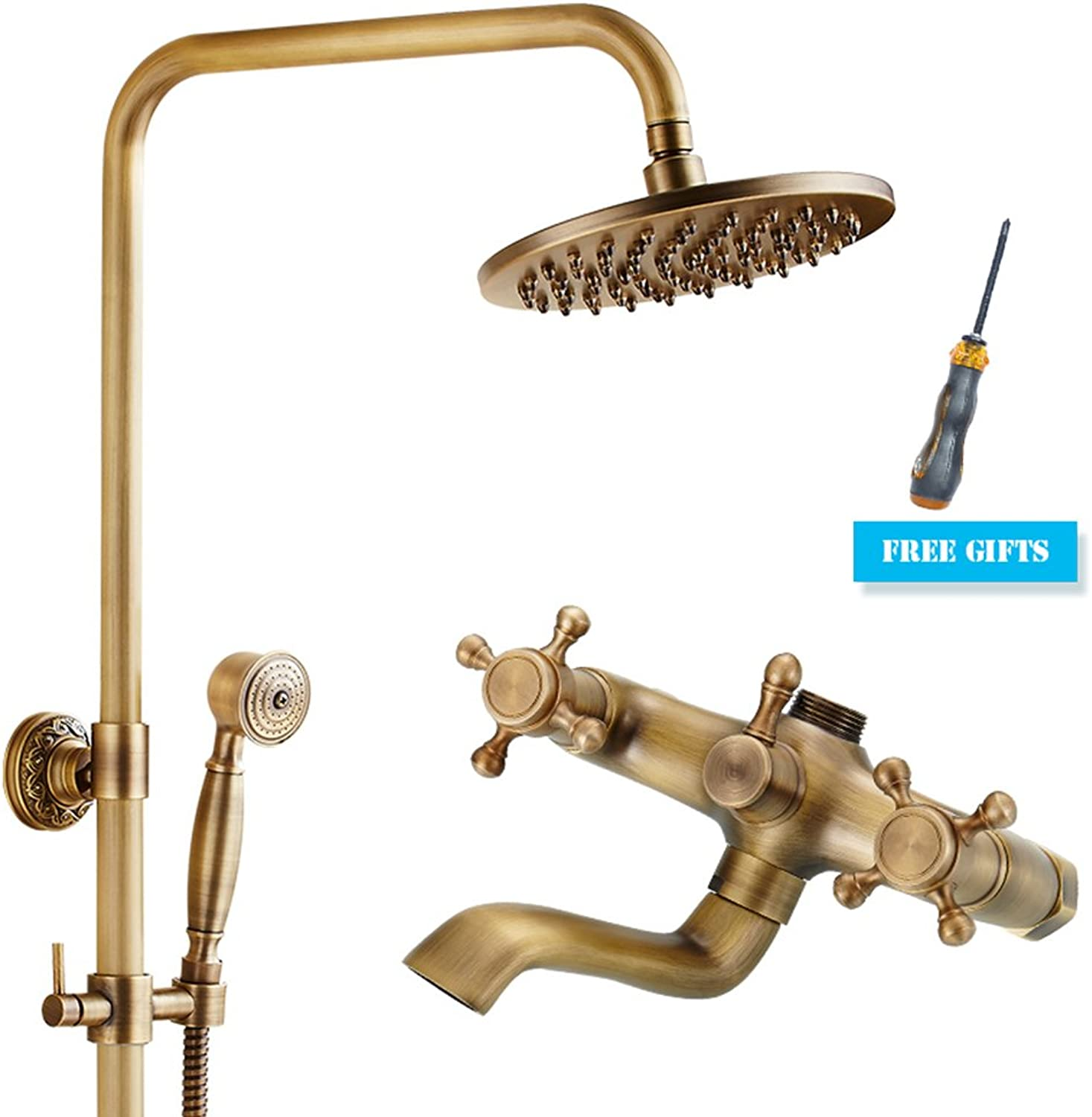 GAOLI Copper Antique Bathroom Shower Faucet, European-Style Retro Shower Shower Hot And Cold Faucet, Bathroom Handheld Nozzle Set, In-Wall Shower Faucet