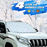 ALAVENTE Car Windshield Snow Cover,Car Windshield Snow Ice Cover with 4 Layers Protection,Snow,Ice,Sun,Frost Defense,Extra Large Windshield Winter Cover Fits Most Cars and SUV