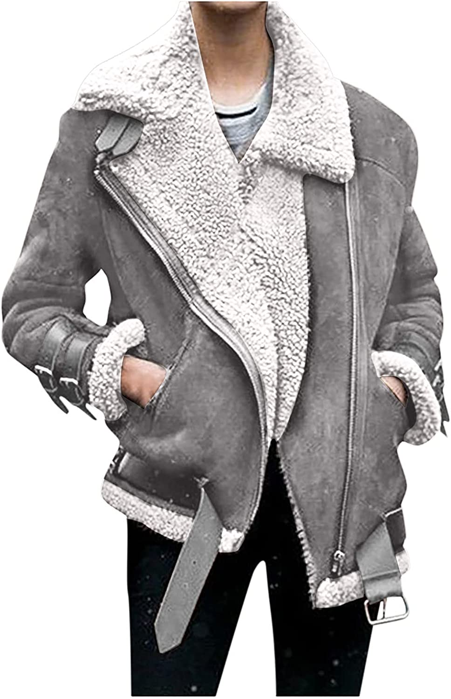 FIRERO Faux Fur Coats for Women Winter Fleece Jackets Elegant Lapel Biker Moto Jacket Slim Parka Outwear