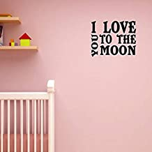 """Design with Vinyl Moti 1426 2 I Love You to the Moon Girls Boys Kids Teen Bedroom Peel & Stick Wall Sticker Decal, 16"""" x 24"""", Black"""