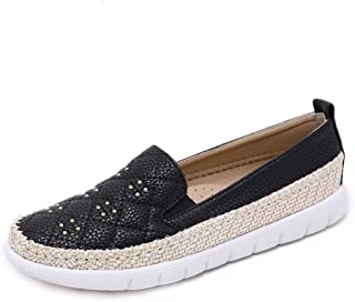 Women's Rivets Shoes New Spring Loafers & Slip-Ons Low-Top Casual Shoes Hemp Rope Round Head Comfortable Deck Shoes,Black,35