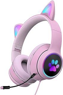 CALIDAKA Auriculares de diadema con luz LED con micrófono plegables, lindo gato para juegos con luces LED RGB USB de 3,5 mm con cable para PC, teléfono móvil, color rosa