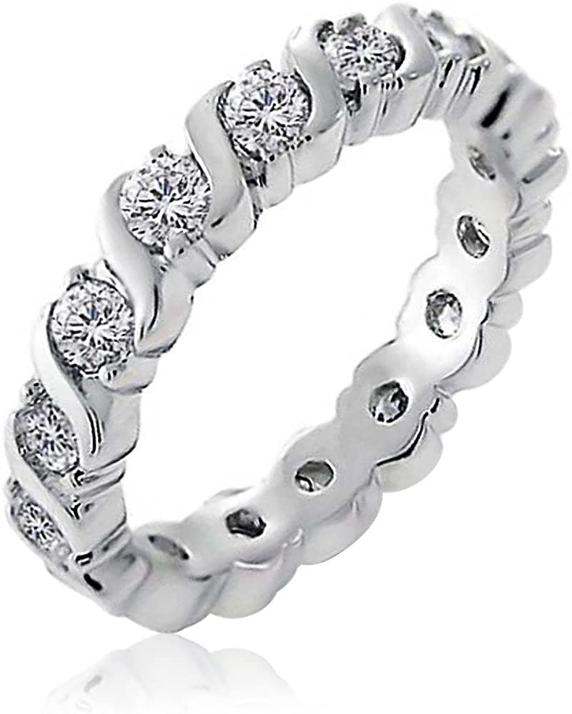 Cubic Zirconia Ranking TOP5 CZ Band Stackable Eternity Set W Wave Anniversary Spasm price
