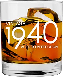 1940 80th Birthday Gifts for Men Women | 11 oz Whiskey Bourbon Lowball Glass | Funny Vintage 80 Year Old Gift Present Ideas for Him Dad Husband | Anniversary Christmas Whisky Glasses Party Decorations