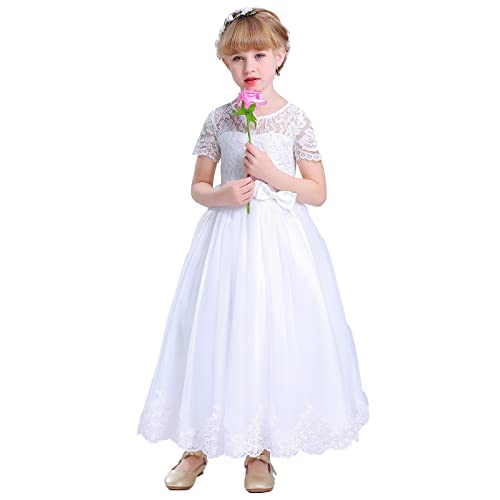 691040ed451a Happy Rose White Lace First Communion Dress Flower Girls Dresses
