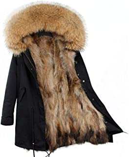 Women's Real Raccoon Fur Parka Detachable Fur Liner Hood Fur Coat