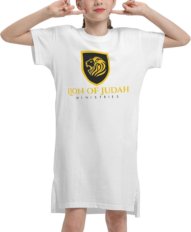 Lion Cross Religious Christian Rasta Girls' Short Sleeve Dress T-Shirt Dresses Summer T-Shirt Dress