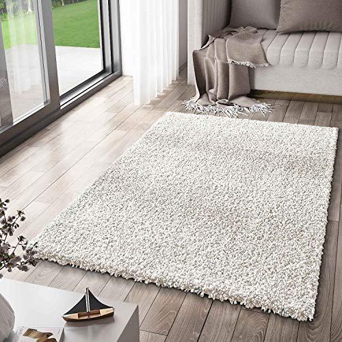 VIMODA Prime Shaggy Teppich Weiss Creme Hochflor Langflor Teppiche Modern, Maße:Ø 120 cm Rund