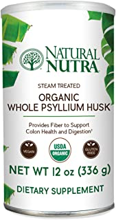 Natural Nutra Organic Whole Psyllium Husk Powder, Soluble and Insoluble Dietary Fiber, 12 oz, 81 Servings