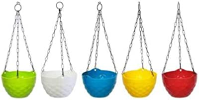 GTB Diamond Garden Hanging Flower Pot, Hanging Pot (Pack of 5) Plant Container Set (Plastic) Plant Container Set fp-03-5 pc
