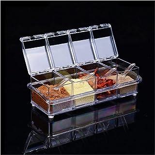 Boîte à épices 4pcs / lot Cuisine Organisateur Boîtes de rangement Espices Assaisonnement Jar Cuisine de bouteille de sel ...