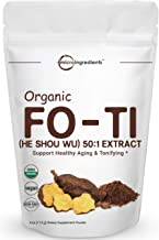 Maximum Strength Organic Fo Ti 50:1 Extract Powder (He Shou Wu), 4 Ounce, Traditional Anti Aging Herb, Powerfully Promotes Hair Health and Antioxidant, No GMOs and Vegan Friendly