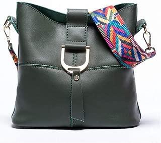Fashion New Bucket Bag Leather Messenger Bag Shoulder Fashion Handbag (Color : Green)