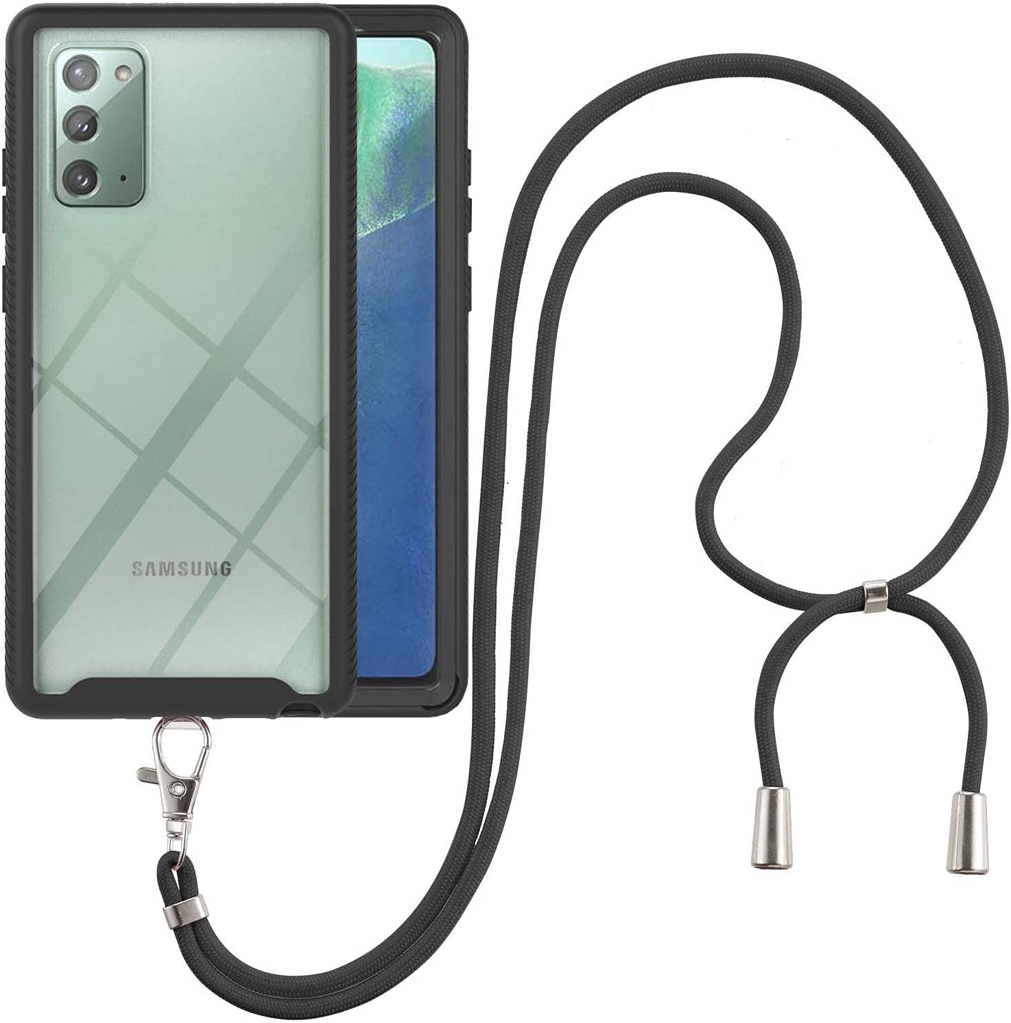 Samsung Note 20 Case, EabHulie Transparent Back No-Slip Bumper with Adjustable Crossbody Lanyard Strap Case, Shockproof Full Body Protection Cover for Samsung Galaxy Note 20 Black