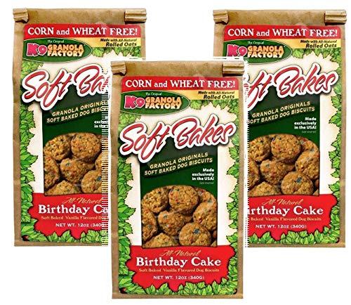K9 Granola Factory 3 Pack of All Natural Soft Bakes Birthday Cake, All Natural Vanilla Flavored Dog Treats