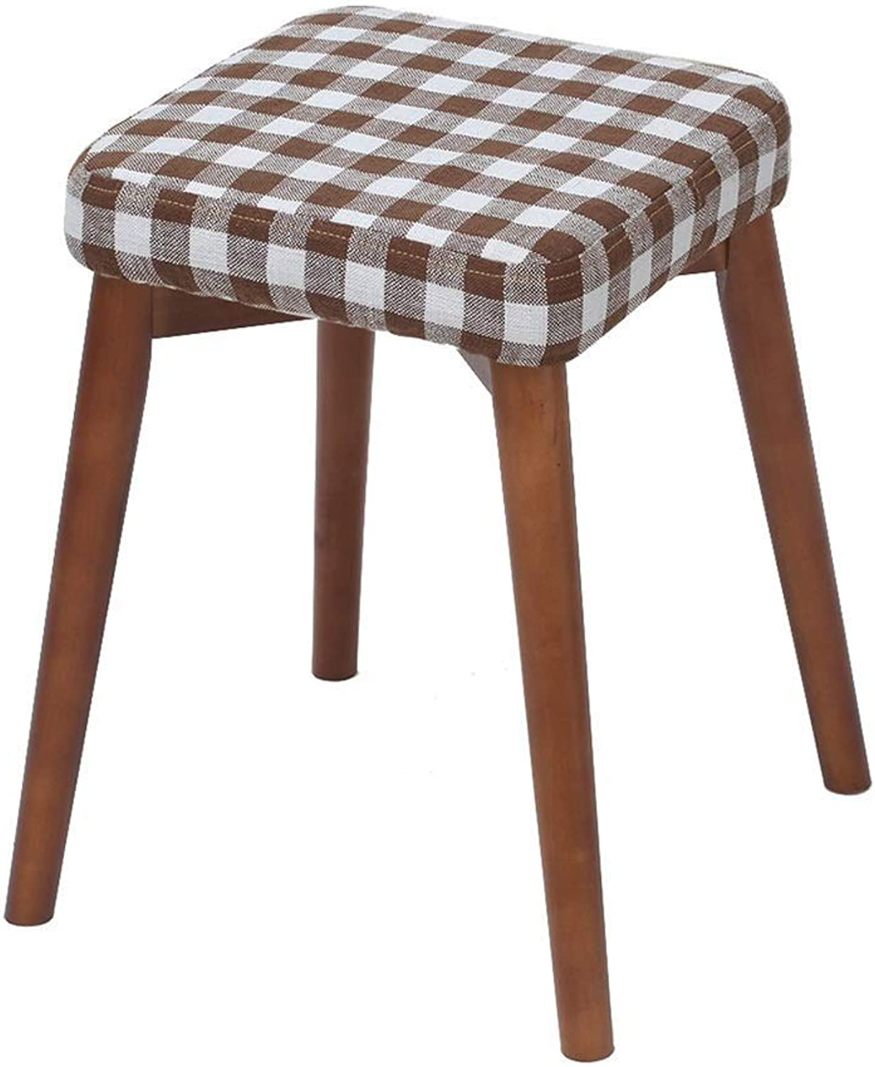 Makeup DressingSolid Wood Creative Fabric Stool Fashion Bench Modern Simple Home Adult Dining Stool High Resilience Sponges Seat HENGXIAO (color   Brown)