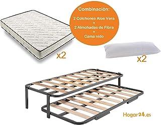 comprar comparacion HOGAR24 ES.es-Cama Nido Estructura Reforzada Doble Barra Superior (4 Patas) + 2 Flexitex + 2 Almohadas de Fibra, 90x190cm