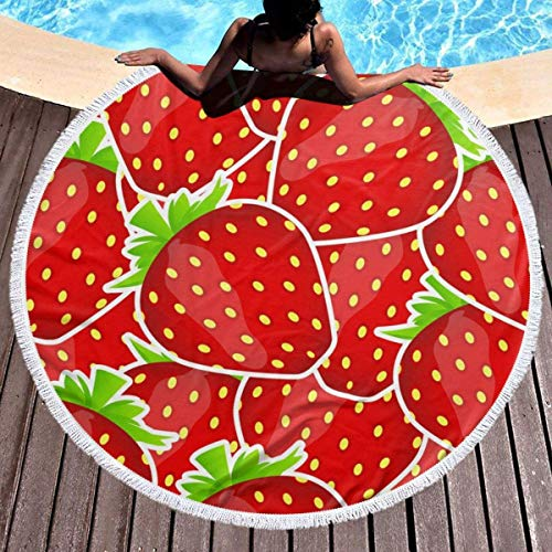 UUwant Toalla de Playa Redonda Round Beach Towel Sweet Strawberry Youth Towels Extra Large Sand Proof Blanket Yoga Mat with Tassels 59 Inch