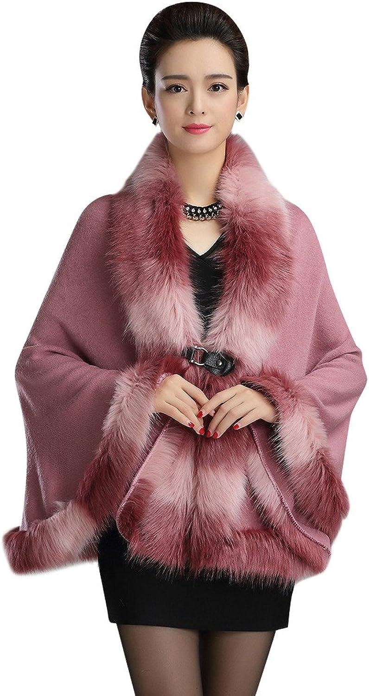 CgQgXn Womens Luxurious Faux Fur Soft Shawls Cape
