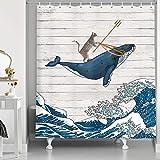 HNMQ Lustiger Katzen-Duschvorhang, Katze reitet Wal in Ozeanwelle, Vintage-Stil, Holzvorhänge, orientalischer Stoff, japanische Wellenkunst, Duschvorhang für Badezimmer 69