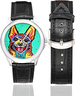 InterestPrint Funny Cartoon Dog Waterproof Women's Stainless Steel Classic Leather Strap Watches, Black