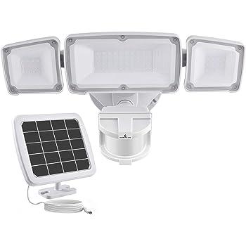 GLORIOUS-LITE Solar Security Light Outdoor, 1600LM Solar LED Motion Sensor Light with 3 Adjustable Head, 5500K, IP65 Waterproof Flood Light for Backyard, Pathway & Patio