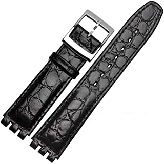 Swatch Stone Grain Cow Leather Stainless Steel Buckle Watch Band Strap with Tool Watch Width 17mm Replacement for Men's Swatch