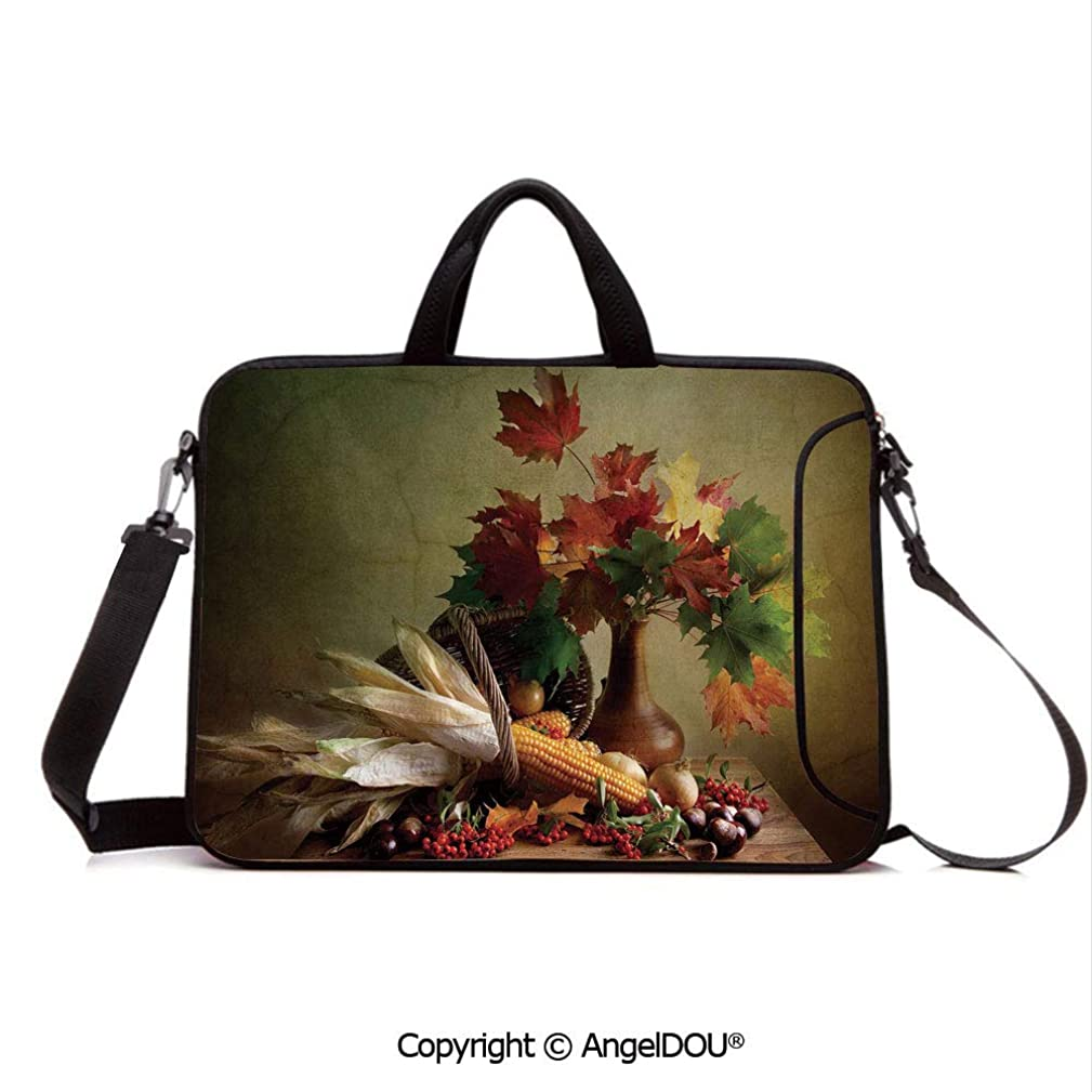 AngelDOU Laptop Shoulder Bag Waterproof Neoprene Computer Case Photograph from Death of The Nature Season Fall Vegetables and Leafs Wooden Tabl with Handle Adjustable Shoulder Strap and External Sid