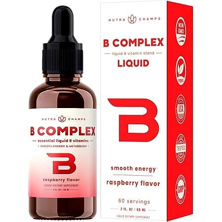 Vitamin B Complex Liquid Drops with Fast Absorption - Sublingual Drops Supplement - Vitamins B1, B2, B3, B6, B7, B9 & Methyl B12 for Men, Women & Kids - Vegan Berry Flavor 2oz