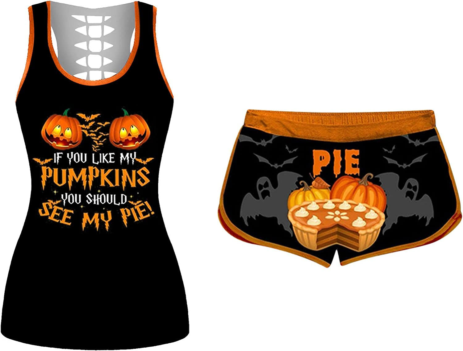 Tank Tops and Shorts Set for Women If You Like My Pumpkin Halloween Tank Workout Two Piece Outfits Runnig Yoga Tracksuit