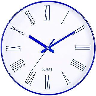 室内用のモダンな掛け時計、30 cm、ガラスの文字盤、室内用の壁画、アラビア数字で丸くて静かな、安定した時間精度(色:青、サイズ:30 cm)