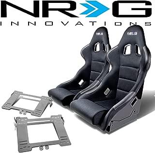 NRG FRP-311 Pair of Fiber Glass Bucket Racing Seat (Black)+Mounting Bracket for VW Golf/Jetta/Beetle MK4