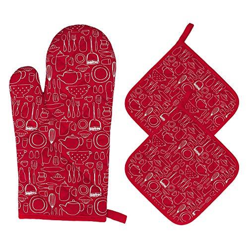 Guantes de Horno Guantes de Cocina de Algodón Resistentes al Calor Guantes de Horno Microondas para Barbacoa, Cocinar, Hornear, 1 Manopla de Horno + 2 Manteles Individuales Aislados (Rojo)