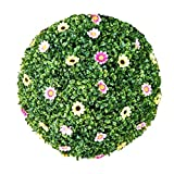Flikool Seto Bola de Boj Artificial con Flores Escultura de Jardín Esfera Decorativa Bola del Poda Verde Hierba Arte de Recortar Plantas Artificiales - 15cm