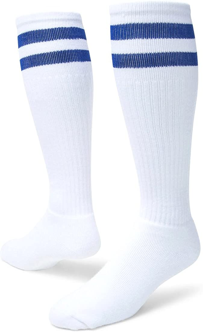 Red Lion Old School Classic Two Stripe Athletic Socks (White/Royal Blue Blue - Small)
